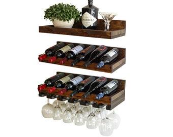 Wood Wine Rack & Wall Mounted Wine Bottle Holder Shelf With Hanging Stemware Glass Storage Bar Organizer