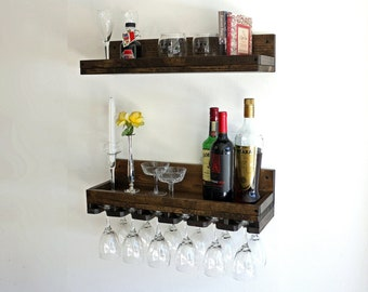 Rustic Wood Wine Rack Wall Mounted Shelf with UNIQUE (Beveled) Hanging Stemware Glass Holder Floating Bar Shelves & Organizer