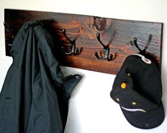 Rustic Coat Rack Wall Mount | Coat Hanger With Coat Hooks | Entryway Wood Coat Rack