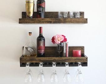 "24"" Rustic Wood Wine Rack   Shelf & Hanging Stemware Glass Holder Organizer   Bar Shelf"