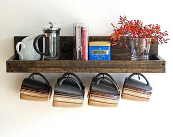 Coffee Mug Shelf with hooks   Coffee Mug Wall Rack   Hanging Coffee Cup Mug Rack   Coffee Mug Holder   Coffee Bar Shelf Organizer