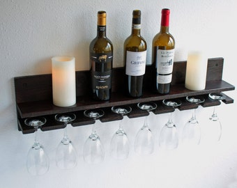 Rustic Wall Wine Rack Shelf & Hanging Wine Glass Holder | Wood Wine Glass Rack Bar Organizer