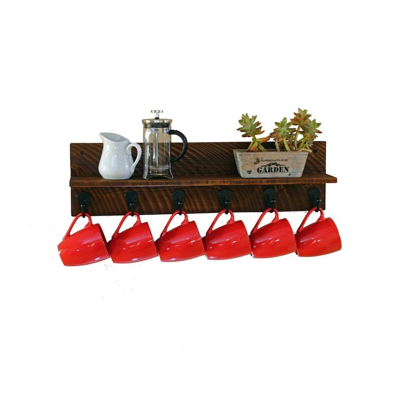 Farmhouse Mug Rack With Shelf Wall Mounted Coffee Cup Holder Etsy