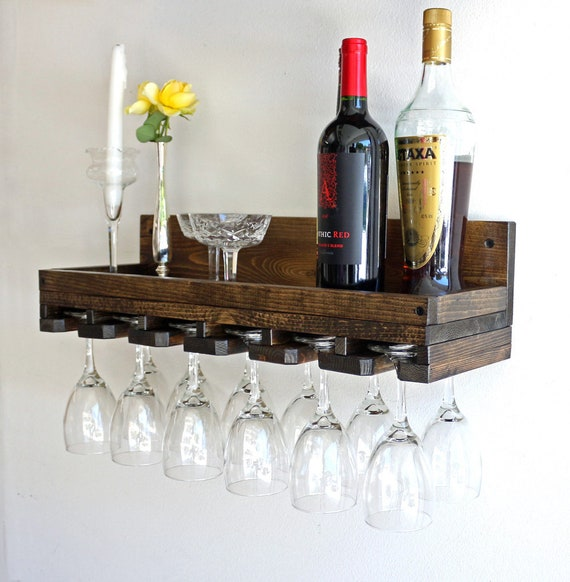 Wine Glass Rack Wall Mounted Shelf Hanging Stemware Glass Etsy