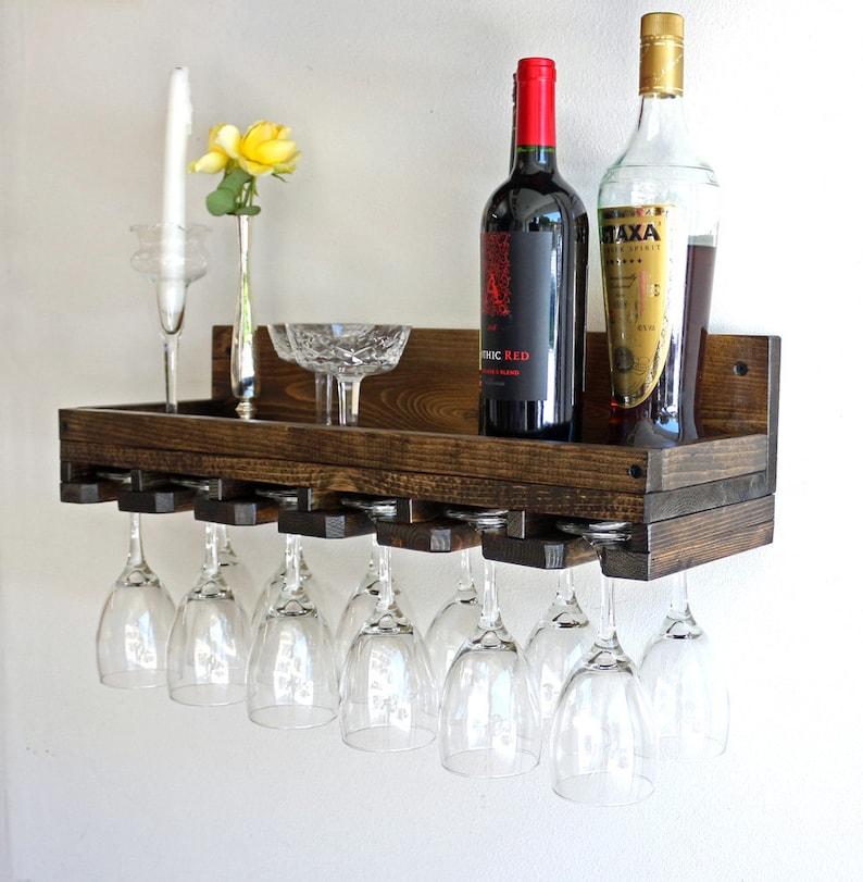 Awe Inspiring Wine Glass Rack Wall Mounted Shelf Hanging Stemware Glass Holder Wine Glass Rack Shelf Bar Organizer Home Interior And Landscaping Oversignezvosmurscom