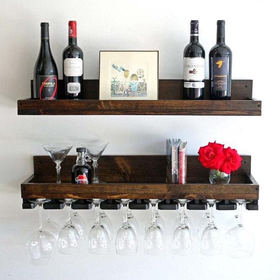 Rustic Wine Rack Shelf Wall Mounted Wine Rack And Hanging Etsy