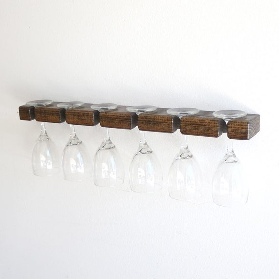 Rustic Wood Wine Glass Rack Wall Mounted Wine Glass Holder Stemware Wall Rack Display Wine Glass Hanger