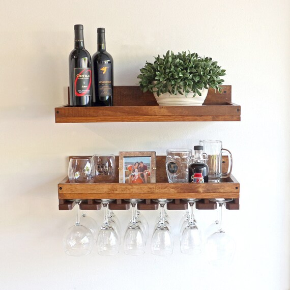 10 Deep Wine Rack Shelf Hanging Stemware Glass Holder Etsy