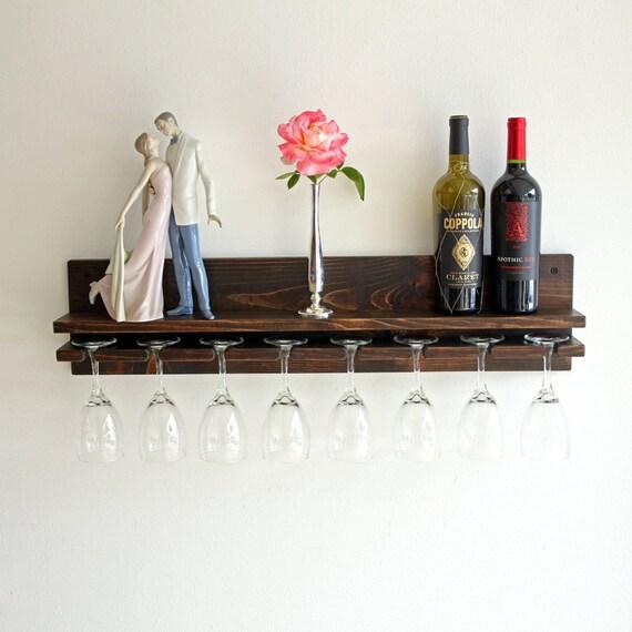 verre vin rustique rack mur porte verres pied mont en. Black Bedroom Furniture Sets. Home Design Ideas