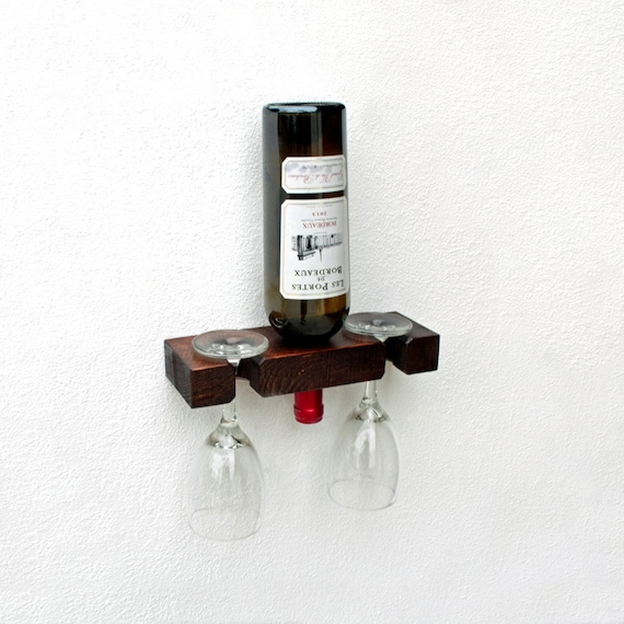 Single Wine Bottle Holder Wall Mounted Wine And Glass Holder Etsy