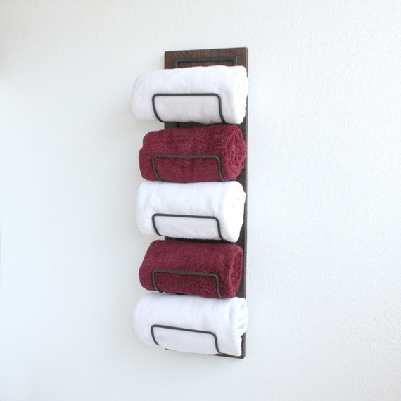 Rustic Hand Towel Rack Holder Wood