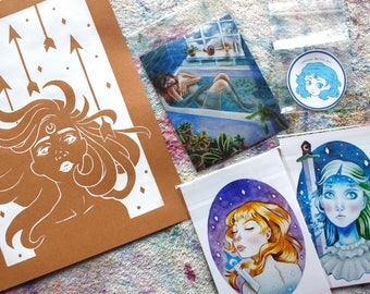 DISCOUNT Art Print Pack - 4 Prints + 1 Sticker!
