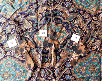 Camo leather Crosses, woodland camo pattern, matching concho and strap, brown hanger