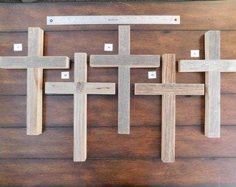 Plain medium narrow wall Cross made of weathered cedar pickets, 9x14