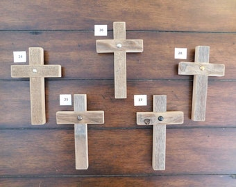 Cross magnets made of cedar pickets, weathered pickets, 4x6