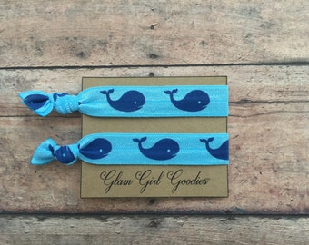 Whale hair ties,Whale party favors,Whale themed party,whale print foe,blue whale,2pk hair ties