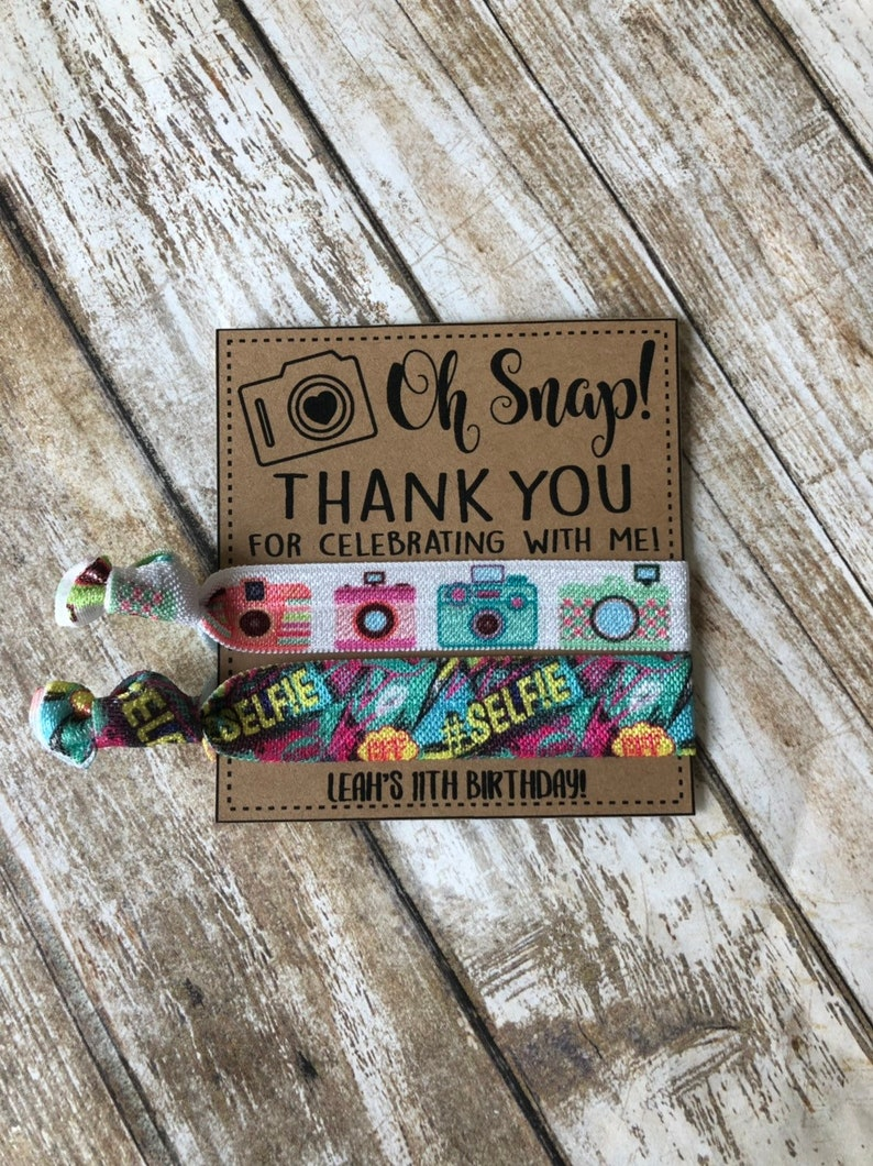 Oh Snap personalized hair tie Favors,oh snap Birthday party goodies oh snap Birthday party hair camera themed birthday favors