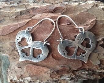 Sterling Silver Folk Heart Earrings
