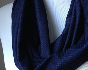Blue Scarf, Navy Infinity, Blue Basket Weave Scarf, Blue Infinity, Blue Cirlce Scarf, Gift for Her,Under 20,Girl Friend Gift, FREE SHIPPING