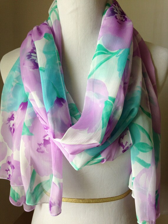 Ladies dusky pink floral scarf FREE delivery
