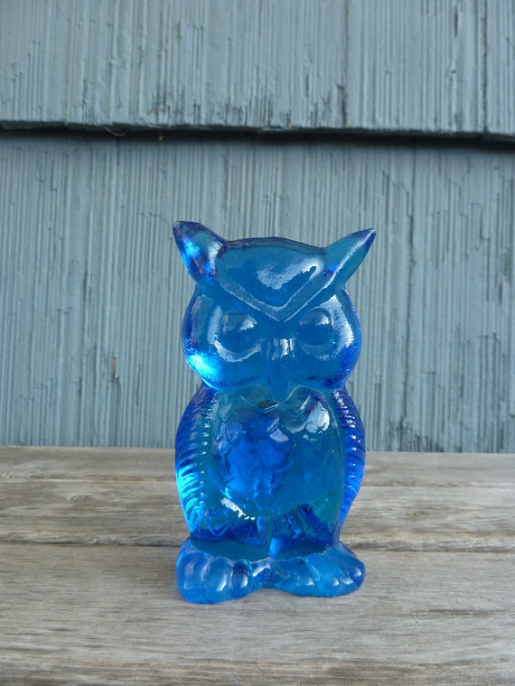 Figurine de chouette en verre bleu Kanawha, vintage artisanaux verrerie de Dunbar, Virginie-occidentale