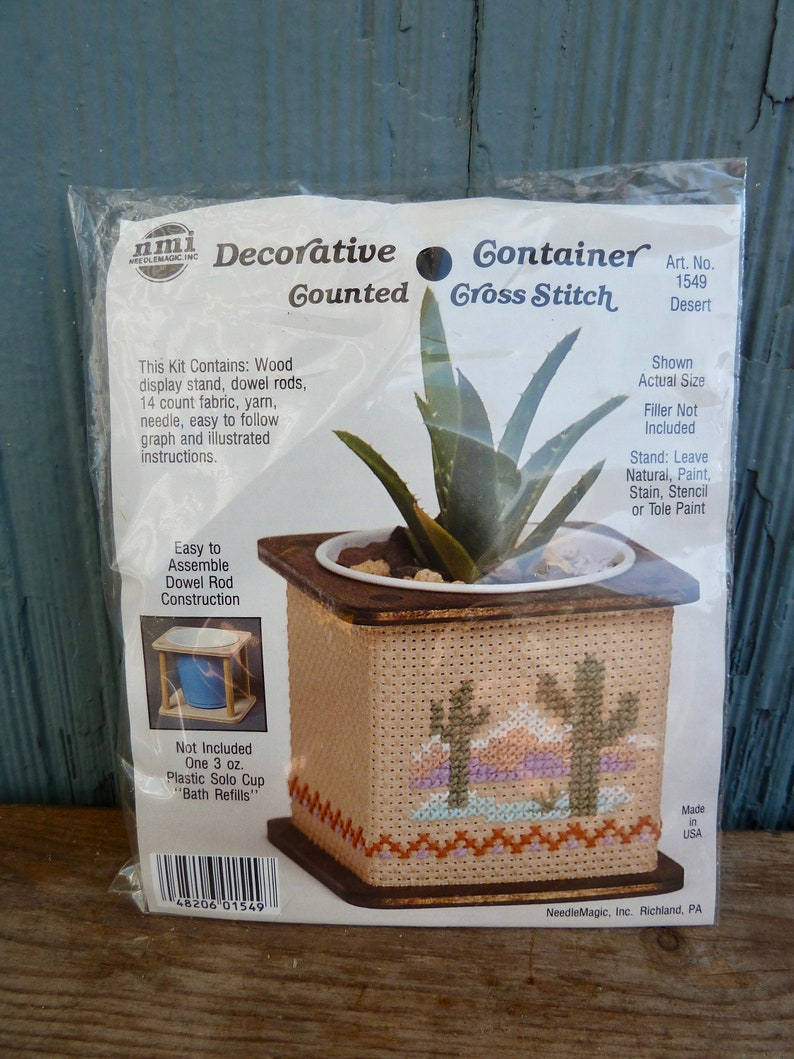 Decorative Container Counted Cross Stitch Kit by NMI, Desert cactus scene,  DIY embroidery planter