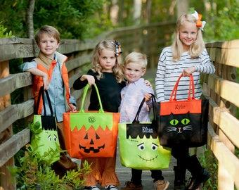 Personalized Halloween Character Tote - Cat, Frankenstein or Jack-o-Lantern - Monogram Halloween