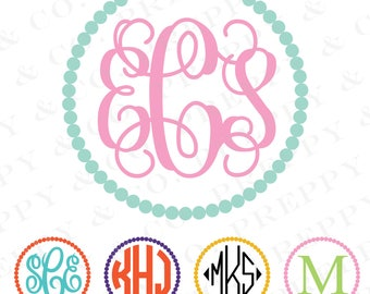 BOGO Pearl Monogram Vinyl Decal - 2 Color - Choose from 19 colors in various sizes and fonts