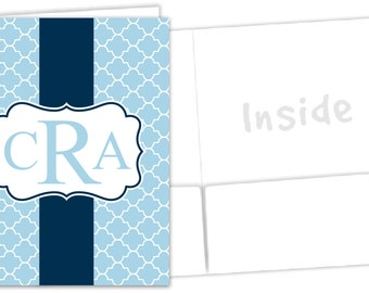 Monogrammed Pocket Folder - Monogram School Supplies - Sorority Rush Folder