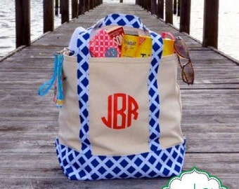 Monogrammed Canvas Tote Bag - Customize with Vinyl - Monogram Gift