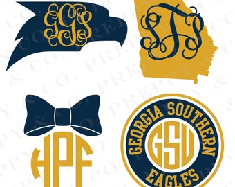 Georgia Southern Vinyl Decal - Monogram GSU Sticker - Georgia Southern University