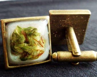 Copper Cannabis Cuff Links-Unique Cuff Links-Marijuana Cuff Links-Cannabis Wedding-Weed Cuff Links-Copper Cuff Links-Marijuana Cuff Links