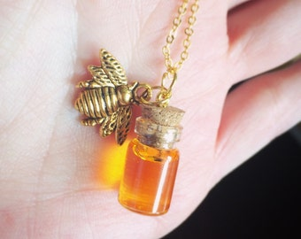 Honey Bee Necklace -Honey Pot Necklace -Spring jewelry - Bee Necklace- Bee Jewelry - Gold Bee Necklace- Silver Bee Necklace - Honey Necklace