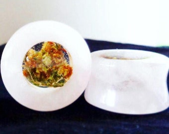 Rose Quartz Cannabis Filled Plugs-Weed Plugs-Rose Quartz Plugs-Weed Gifts-Weed Gift Girlfriend-Weed Jewelry-Stone Plugs-Rose Quartz-Weed