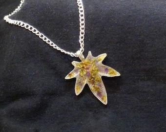 Amethyst Pendant-Cannabis Necklace-Marijuana Leaf- Marijuana Jewelry-Amethyst Jewelry