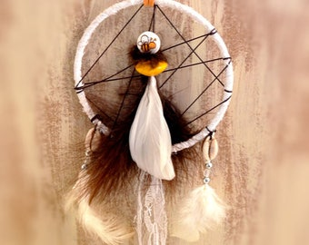 Dream catcher, dreamcatcher, dreamcatcher, feathers, lace, bee, white, yellow
