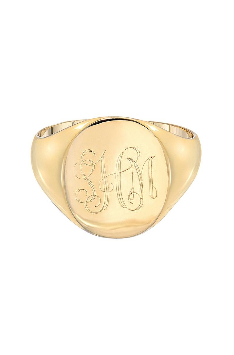 Gold engraved signet ring large signet ring image 0
