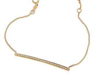14k gold diamond bar bracelet, pave diamond bar