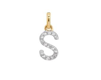 diamond initial pendant, pave diamond, diamond letter