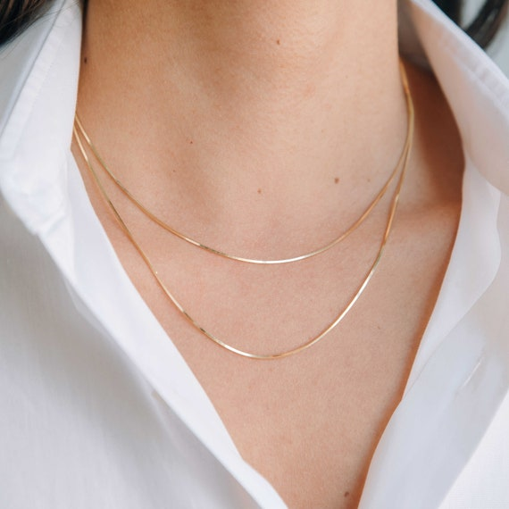 40cm 45cm Trendy Snake Chain Minimalist Snake Chain Gold Plated Snake Chain Necklace