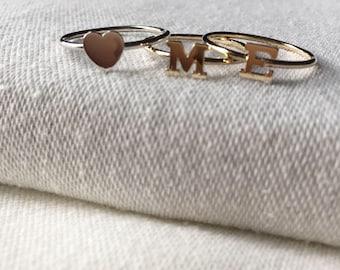 14k gold initial ring, gold letter ring