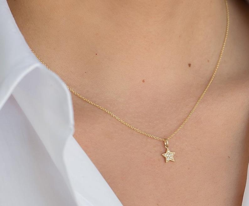 Pave Diamond Star Necklace