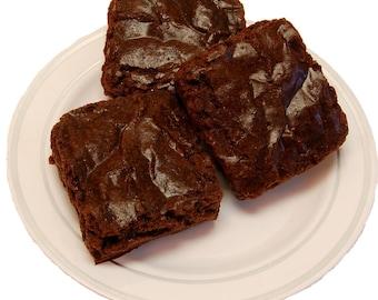Fake Chocolate Brownies 3 Piece on Plate