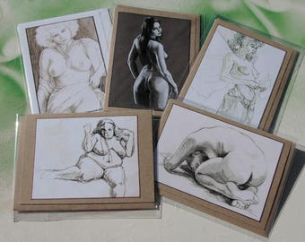 Figure studies of women. Set of Five hand made note cards