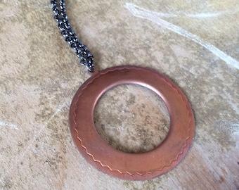 Long Copper Circle Necklace