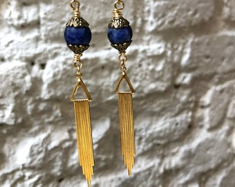 Art Deco Earrings with Lapis