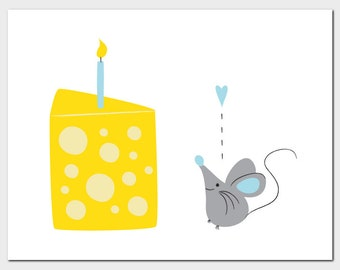 Mouse & Cheese Birthday Card