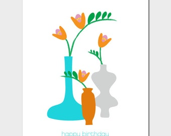 Vases Birthday Card with Freesia