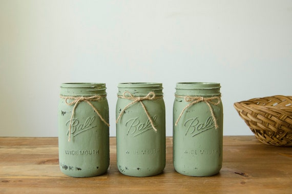 Distressed Mason Jars Rustic Home Decor Kitchen Utensil Holder Mason Jar Decor Southern Kitchen Decor Farmhouse Kitchen Decor