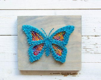 Butterfly Wall Art - String Art - Wood Decor - Butterfly Art - Wood Wall Art - Nature Art - Rustic Decor - Country Decor - Cottage Decor